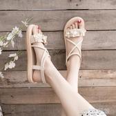 涼鞋花朵涼鞋女仙女風新款網紅夏季ins潮學生百搭羅馬平底沙灘鞋 歐韓流行館