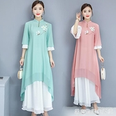 夏季新款中國風復古禪藝手繪漢服改良大碼雪紡洋裝 居家物語