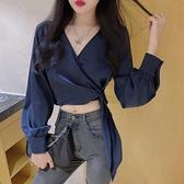長袖襯衣氣質v領心機上衣設計感襯衫短款法式小眾顯瘦2021新款女 韓國時尚週