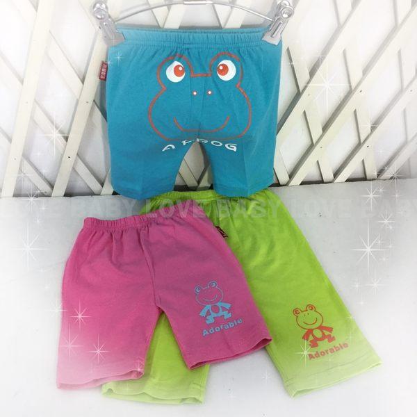 ☆╮寶貝丹童裝╭☆ 台灣製造 簡單 實搭 素面 青蛙 圖案 短褲 男女童 休閒褲 小童 中短褲 現貨 ☆