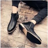 夏季高筒尖頭皮鞋男發型師中筒短靴男士英倫高邦真皮內增高男韓版 居享優品