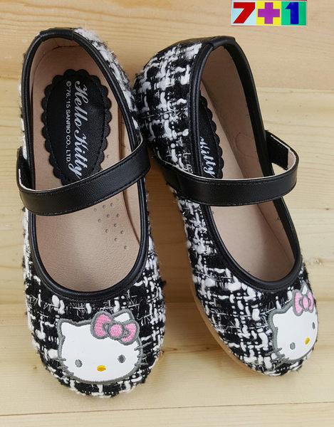 HELLO KITTY 小香風 毛呢格公主鞋《7+1童鞋》B668黑色