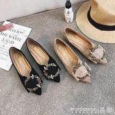 平底鞋 女單鞋韓版時尚平底豆豆鞋水鑚扣V口淺口一腳蹬尖頭 晶彩生活