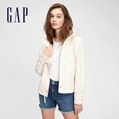 Gap女裝 簡約風休閒連帽短外套 670374-米色