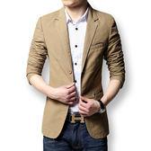 商務休閒西服男士修身純棉長袖外套韓版潮小西裝男青年上衣單【米蘭街頭】