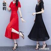 雪紡長洋裝 2019夏新款寬鬆洋氣短袖連身裙胖mm減齡氣質顯瘦大碼長裙 EY6773『pink領袖衣社』