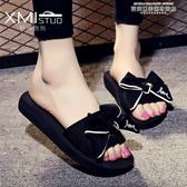 夏季新款拖鞋女外穿時尚蝴蝶結沙灘鞋涼拖海邊防滑厚底大碼一字拖