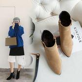 丁果、大尺碼女鞋34-46►韓版扣帶拚接尖頭高跟短靴子*2色