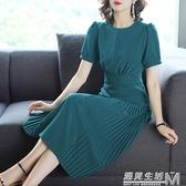 雪紡洋裝女夏季法式復古桔梗智熏式中長裙流行的裙子