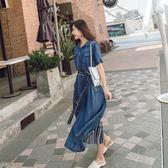 聖誕狂歡 天絲連體軟牛仔連身裙女2018新款中長款韓版修身顯瘦夏天薄款裙子