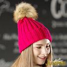 保暖針織帽-女款雙層加厚針織保暖防風毛線冬帽+可拆卸毛球J5117 JUNIPER