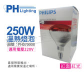 PHILIPS飛利浦 250W 220V E27 紅外線溫熱燈泡 / 紅面_PH070008