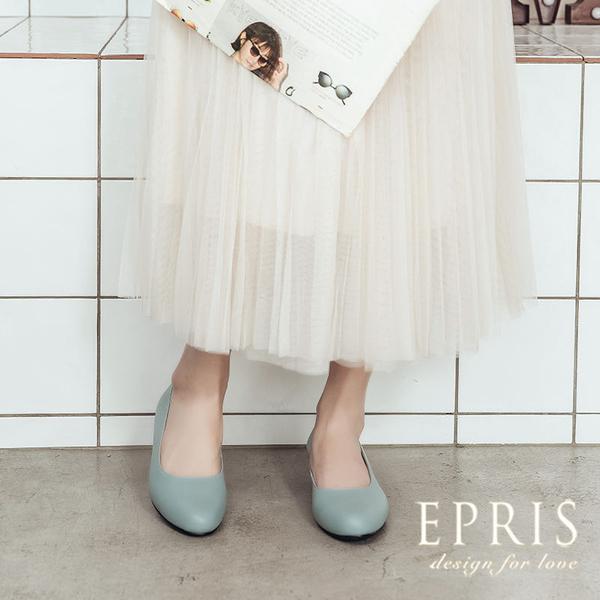 現貨 圓頭低跟娃娃鞋推薦 全真皮舒適好穿跟鞋 大尺碼婚鞋 版型偏大 20.5-26 EPRIS艾佩絲-湖水藍