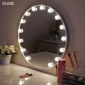 化妝鏡圓形化妝鏡帶燈泡壁掛式梳妝鏡歐式高清浴室燈鏡墻面補妝鏡-凡屋FC