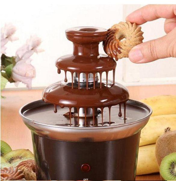 家用三層巧克力噴泉機 diy迷你瀑布火鍋熔漿機派對活動自動融化塔