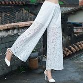 降價兩天 原創設計2020春夏季復古高腰褲子 蕾絲提花闊腿褲 大碼鏤空寬鬆長褲