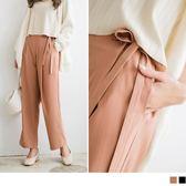 《BA3615》素色打褶側邊蝴蝶結綁帶褲 OrangeBear