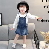 兒童春秋款女寶寶小童嬰兒裙子牛仔背帶裙