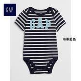 Gap男嬰兒 Logo圖案短袖圓領包屁衣 374358-海軍藍色