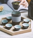 溫酒器 便攜式杯戶外旅行功夫茶具套裝簡易過濾泡茶壺一壺六杯【免運】
