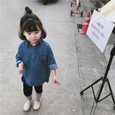 618好康鉅惠童裝18春裝女寶寶女童翻領丹寧襯衫韓版