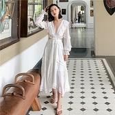 長袖洋裝-露背綁帶V領白色女連身裙2款73ye1【巴黎精品】