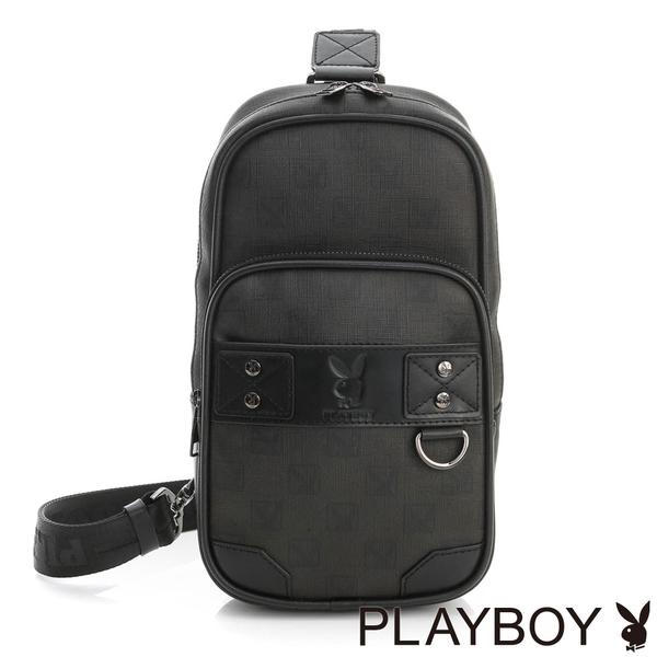 PLAYBOY- 單肩背包 紳士棋盤兔系列-經典黑