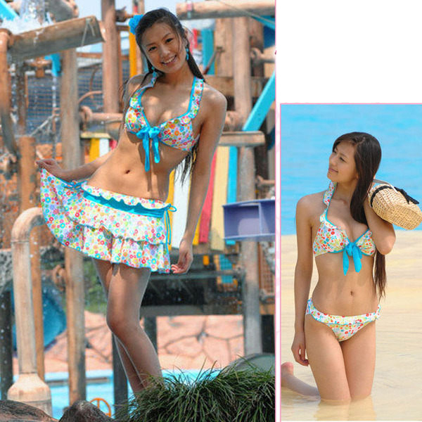(零碼出清M) 荷葉邊彩虹小花虹款泳裝 鋼圈比基尼上衣+泳褲+泳裙 繞頸綁帶泳衣 三件式