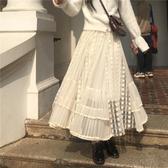 網紗半身裙女2019秋冬新款高腰顯瘦中長款蕾絲仙女裙韓版chic裙子
