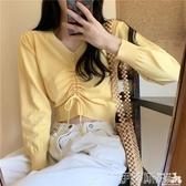 針織上衣 秋季新款百搭韓版短款針織衫女純色抽繩修身顯瘦露臍v領長袖上衣 伊蒂斯