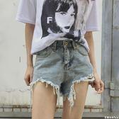 牛仔短褲女 早春新款女裝復古破洞毛邊學生高腰寬鬆顯瘦百搭牛仔短褲女熱褲 芭蕾朵朵