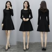 復古小黑裙赫本風裙子黑色加絨加厚連衣裙秋冬長袖收腰外穿打底裙
