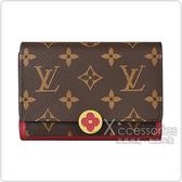 LV M64588 FLORE花紋LOGO Monogram帆布4卡扣式零錢包(紫紅)