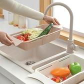瀝水籃 可伸縮洗菜盆瀝水籃長方形淘菜盆塑料家用水果收納筐廚房瀝水架