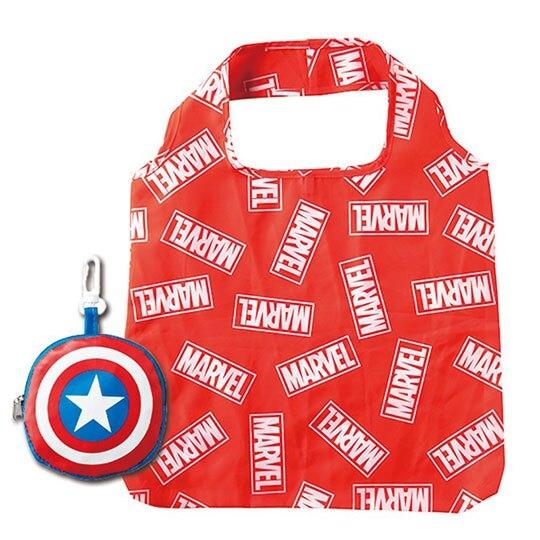 〔小禮堂〕漫威英雄 Marvel 美國隊長 折疊尼龍環保購物袋《藍紅》手提袋.環保袋 4992272-67766