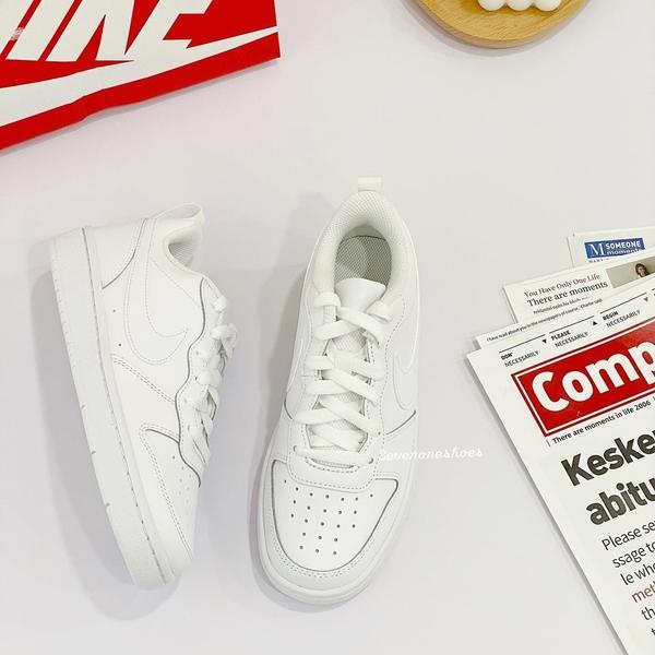 《7+1童鞋》大童 NIKE NIKE COURT BOROUGH 復古款 運動鞋 籃球鞋 H878 白色