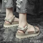 涼鞋女夏季仙女風百搭花朵新款平底厚底鬆糕羅馬沙灘鞋學生一字帶 育心小館