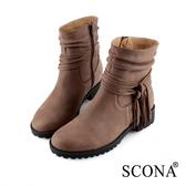 SCONA 蘇格南 全真皮 時尚抓皺流蘇短靴 咖啡色 8791-2
