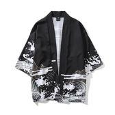 七分袖日系復古暗黑浮世繪道袍開衫和服男女中國風寬鬆襯衣外套潮【諾克男神】