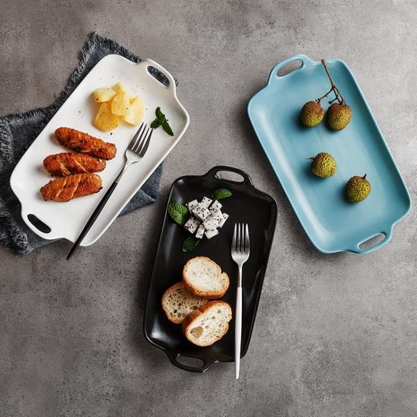 北歐西餐餐具雙耳陶瓷盤家用菜盤子 大號黑白色平盤