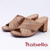 kadia.抓皺交叉雙色粗跟拖鞋(9652-25棕色)