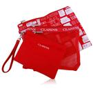 CLARINS 克蘭詩 紅色防水網狀3件包[外出.旅遊.收納好幫手]【美麗購】