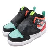 Nike 休閒鞋 Sky Jordan 1 TD 黑 白 彩色 童鞋 小童鞋 運動鞋 喬丹 魔鬼氈【ACS】 BQ7196-009