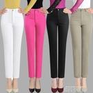 夏季女褲 純棉高腰彈力小直筒白色薄款9分休閒褲 中老年九分褲 依凡卡時尚