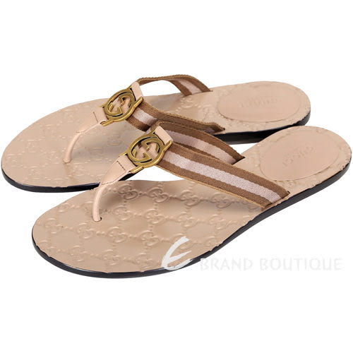 GUCCI Guccissima 牛皮壓紋夾腳拖鞋(女,粉耦色) 1430229-05