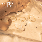 Queen Shop【07060137】愛心珍珠設計戒指五件組*現+預*