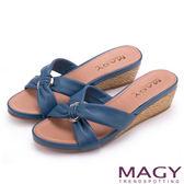 MAGY 夏日時尚舒適 圓形釦環抓皺羊皮編織楔型拖鞋-藍色