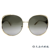 GUCCI 墨鏡 GG0225S (金-藍紅) 金屬大框 圓框 太陽眼鏡 久必大眼鏡