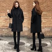 現貨L呢子大衣外套風衣S-2XL冬裝新款小個子修身顯瘦中長款毛呢大衣長袖T613A.6853