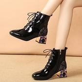 短靴 女水鉆粗跟女靴2020年春秋新款百搭時尚馬丁靴系帶方頭單靴子 店慶降價